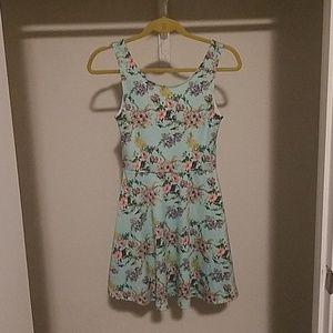 H & M divided baby blue floral dress